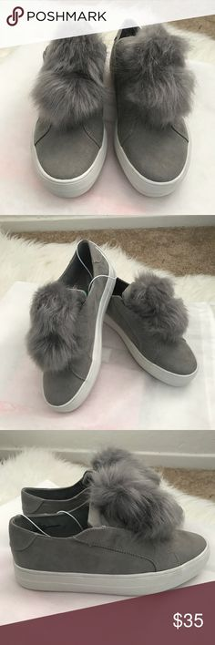 🆕 Report Hummus Gray PomPom Slip On Shoes These are so cute!  Gray Hummus PomPom Slip On Sneakers by Report. Size 7.5 Canvas Fabric Upper, Rubber OUTsoles These are new, but no tag nor box. Never worn!  Please note that the OUTsoles May have some blemishes due to being in store and being tried on.  Feel free to ask me questions you may have.  Thank you for stopping by my closet! Happy Poshing! 💞 🤗 Report Shoes Sneakers