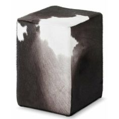 Pomp Sitzhocker Kuhfell schwarz-bunt