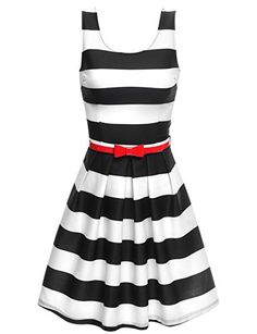 Fashion Bug Women Plus-Size Sleeveless Stripe A-Line Flare Dress with Belt www.fashionbug.us #curvy