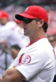 manager Mike Matheny during the game against the Pittsburgh Pirates at Busch Stadium. The Cardinals defeated the Pirates 6-5 in 12 innings.  8-15-13