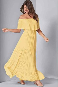 This pretty Yellow Off the Shoulder Maxi dress is pulled straight from a dreamscape. Flowy styling is the key to this stunningly graceful look, with a gentle off-the-shoulder overlay and swingy, tiered skirt. Available in Plus Size Maxi Dress ( sizes 14 – Yellow Maxi Dress, Pink Maxi, Cruise Dress, Cruise Outfits, Formal Dress Shops, Rehearsal Dress, Tiered Skirts, Little White Dresses, Plus Size Maxi Dresses