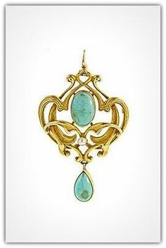 Art Nouveau 14 karat yellow gold brooch complete with interwoven whiplash and leaf motifs is set with an oval turquoise cabochon and a small natural seed pearl with an additional pear shape turquoise cabochon drop. This beautifully executed brooch has a removable frame enabling it to be worn as a drop. This pin is made by the Providence Rhode Island jewelers Bippart, Griscom & Osbourne, circa 1900.