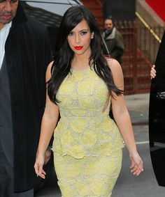 lovely in yellow hot-or-hmm-kim-kardashians-live-with-kelly-and-michael-stella-mccartney-lace-peplum-dress Kim Kardashian Show, Kardashian Style, Lace Peplum Dress, Kim And Kourtney, Stella Mccartney Dresses, Girls Dresses, Dresses For Work, Nice Dresses, Street Style Blog