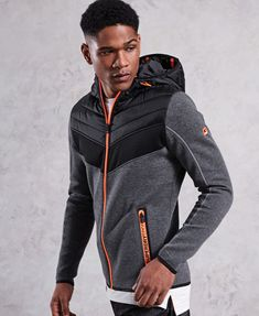 Shop Superdry Mens Gym Tech Chevron Hybrid Jacket in Urban Grey Heather. Buy now with free delivery from the Official Superdry Store. Hoodie Sweatshirts, Hoodies, Chevron Gris, Gym Outfit Men, Workout Gear, Sporty Outfits, Gym Wear, Neymar, Hoodie Jacket