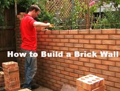 Brick Garden Wall Construction Get step-by-step instructions from DIY Network on how to build a brick garden wall. Construction How-To, Fen. Brick Wall Gardens, Brick Garden, Brick Fence, Garden Walls, Building A Brick Wall, Brick Projects, Stone Wall Design, Brick Laying, Brick Texture
