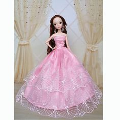 >> Click to Buy << New Lovely Girl Gift Pink Handmade Fashion Wedding Gown Dresses Clothes Outfit Party For Princess Doll Xmas Gift #Affiliate
