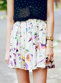 Adorable! Love the #floral #skirt
