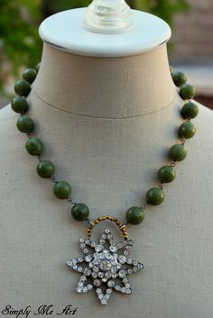 Vintage RhinestoneJade and Golden Pyrite One of a by simplymeart, $73.00