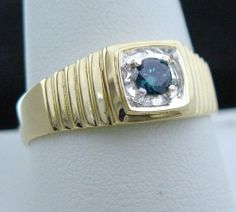 Men's 1/4CT Blue Diamond Solitaire Ring in Solid 10K Yellow Gold, Genuine & NEW