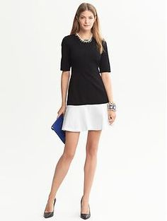 Colorblock Ponte Drop-Waist Dress | Banana Republic So chic, the correct way to do colorblock rather than the Shamu-style vertical panels.