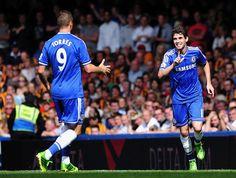 Oscar scored the first goal for Chelsea for 2013/14 season. Fernando Torres. Chelsea 2-0 Hull City. Premier League. Sunday, August 18, 2013.