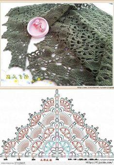 Beautiful lace shawl diagram, beat in a fingering yarn I think # crochet shawl diagram Beau Crochet, Poncho Au Crochet, Crochet Shawl Diagram, Crochet Diy, Crochet Motifs, Crochet Shawls And Wraps, Crochet Chart, Crochet Scarves, Crochet Stitches