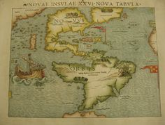 North & South America Novae Insulae XXVI Nova Tabula by Sebastian Munster 1540 (1552?)  A very nice artifact from the age of exploration, Munster's maps was the first to show both American continents, a labeled Pacific Ocean, and Japan.