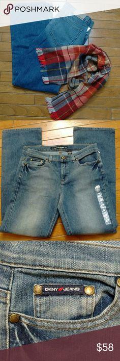 "DKNY Stretch Denim Great looking DKNY 5 pocket, bootleg cut, stretch denim. 31"" inseam. Dkny Jeans"