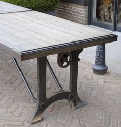 Cast Iron Table Legs, Metal Table Legs, Industrial Machine, Outdoor Tables, Outdoor Decor, Wood Steel, Metal Working, Dining Table, Base