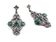 Luxury Green Square Dropped Stud Earrings Bling Rhinestones Women Earings *** You can get more details by clicking on the image. Note:It is Affiliate Link to Amazon.