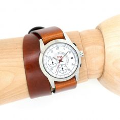 M2 White w/ Vintage Cognac All-Leather Double Wrap Strap