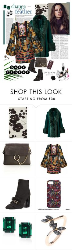 """""""In Dark Bloom"""" by ellie366 ❤ liked on Polyvore featuring Alexander, Chloé, Cynthia Rowley, Stuart Weitzman, CARAT* London, Latelita, GetTheLook, GREEN, floralprints and darkflorals"""