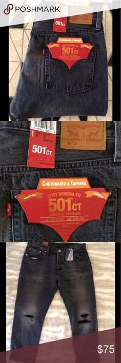 LEVI'S - 501 ct. Selvedge Wash Distressed Jeans Levi's - 501 Customized & Tapered Selvedge Black wash distressed jeans. New With Tags. Retail $168.00. Size: 30.  Inseam: 32. Fabric: 100% Cotton (non stretch). Purchased online from Free People. Absolutely incredible jeans. Super cute, versatile, & flattering on. I bought two pairs/sizes in this color and ended up keeping the smaller size. 💜 Levi's Jeans