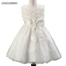 Blanco 3D Rose de La Niña Ropa de Los Niños Del Bowknot Vestido de Novia Folwers Kids Party Balón vestido de Mariage Enfant Bata de Verano Trajes(China (Mainland))