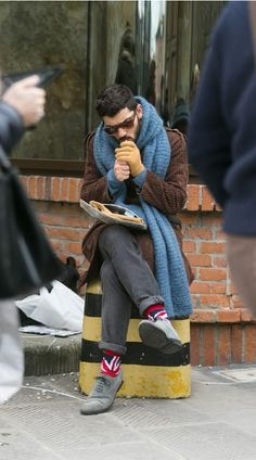 Socks and scarf. Menswear street style.