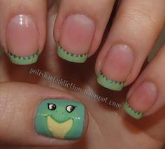 Princess and the Frog / Tiana inspired French tip nails (with tutorial)