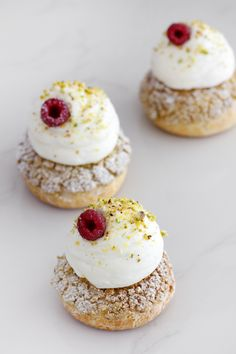 Pistachio and Raspberry Cream Puffs