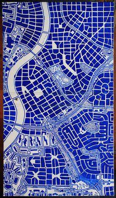 Map in Blue - para cerâmica