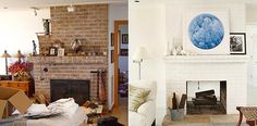 painted brick fireplace transformation
