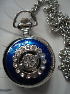 Necklace Pendant Blue Crystal Pocket Watch by Azuraccessories, $8.55