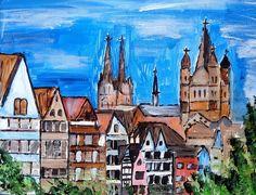 Illustrationen - Köln Altstadt Acryl auf Leinwand 30 x 24 cm Unikat - ein Designerstück von Birgitt-Negro bei DaWanda