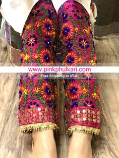 Buy Online Hand Embroidered Phulkari Pants in USA! Salwar Designs, Blouse Designs, Pakistani Outfits, Indian Outfits, Phulkari Pants, Anarkali, Lehenga, Sharara, Kurti Embroidery Design