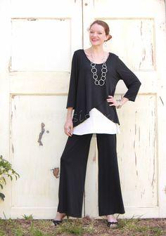 Et'Lois USA Silky Modal 2 Layer Peony Tunic Tulip Front Top s M L XL Black Slate | eBay