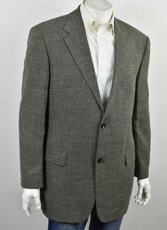 3835930d HUGO BOSS Charcoal & Beige Woven Wool & Linen 2-Btn TIZIAN Sport Coat 44L