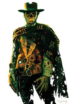Clint Eastwood Zombie Print by Arthur Suydam, in Ryan French's Art Prints Comic Art Gallery Room Zombie Kunst, Zombie Art, Zombie Life, Space Ghost, Dark Beauty, Photomontage, Westerns, Clint Eastwood, No Name