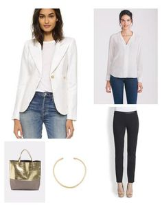 This white Smythe blazer is the epitome of class and sophistication. It's expert tailoring make it an investment piece you need in your closet. Wear it with trouser pants or skirts to work and then pull it back out on the weekends and style over a dress or with denim. Gorgeous!