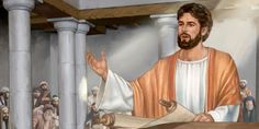 Jesus stands in the synagogue and reads from the scroll of Isaiah