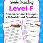 Guided Reading Level F: Reading Comprehension... by Anne Gardner | Teachers Pay Teachers