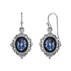 1928 Silver-Tone Blue Faceted Oval Drop Earrings ($14) ❤ liked on Polyvore