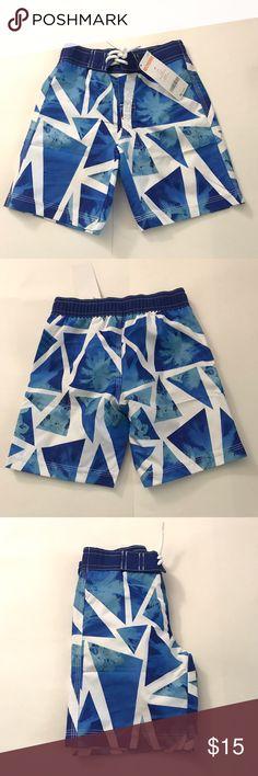 NWT Gymboree Blue White Geometric Boy Swim Trunks Brand-new with tags Gymboree blue and white geometric print swim trunks Gymboree Swim Swim Trunks