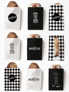 Musette Bakery black and white package design. …
