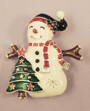 M.J. Enamel Snowman Brooch Pendant Signed. Visit my store at http://www.rubylane.com/shop/aplaceofdistinction/ilist/,cs=Jewelry:Vintage:Christmas+Jewelry