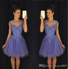Sheer Jewel Beaded Dark Purple Homecoming Dresses 2016 Short Lilac Cap Sleeves…