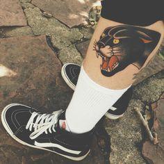 Sweet Tattoos, Dream Tattoos, Future Tattoos, Leg Tattoos, Black Tattoos, Body Art Tattoos, Tattoos For Guys, Traditional Panther Tattoo, Traditional Tattoo Old School