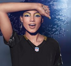 NEW ORLEANS SAINTS fans, get your Covergirl #GAMEFACE on! (Get the Look at covergirl.com/NFL: Ink It! Eyeliner - Golden Ink, Flamed Out Shadow Pot - Molten Black, Liquiline Blast Eyeliner - Black Fire, Outlast Stay Brilliant Nail Gloss - Black Diamond, Golden Opportunity, Snow Storm)