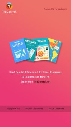 Send Beautiful Brochure Like Travel Itineraries To Customers In Minutes. Experience TripControl.net 15 Days Free Trial No Credit Card Required 50% Off Launch Offer