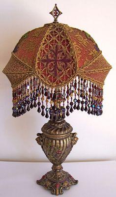 Antique Vintage Gothic Vestment Cross Beaded Table Lamp. $1,788.00, via Etsy.