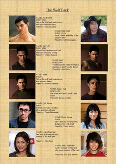 #Twilight The Wolf Pack. #newmoon #TheTwilightSaga. Jacob Black. Billy Black. Sam Uley. Quill. Jared. Embry Call Seth Clearwater. Leah Clearwater. Sue Clearwater. @blownxawayx94