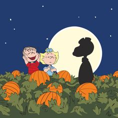 Snoopy, Linus and Sally are at the pumpkin patch at night