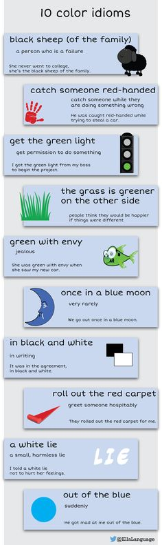 10 color idioms - great for #ESL and #ELL students                                                                                                                                                      More
